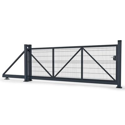 Ворота Откатные 3D сетка полимер 2 слоя 1530х4000х6000