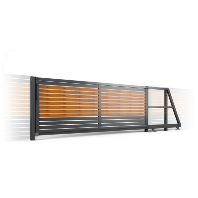 Ворота Откатные полимерное покрытие с наполнением ранчо проем 4 метра