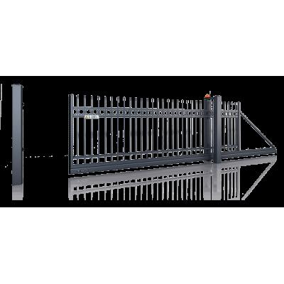 Ворота Откатные полимерное покрытие с кованым наполнением проем 4 метра