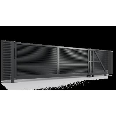 Ворота Откатные полимерное покрытие 2 слоя с наполнением жалюзи проем 4 метра